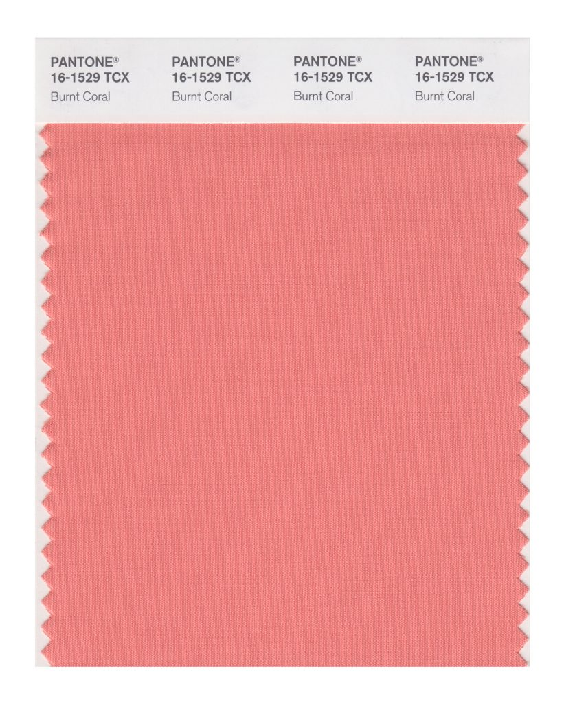 PANTONE 16-1529 TCX Burnt Coral. Inviting Burnt Coral expresses conviviality