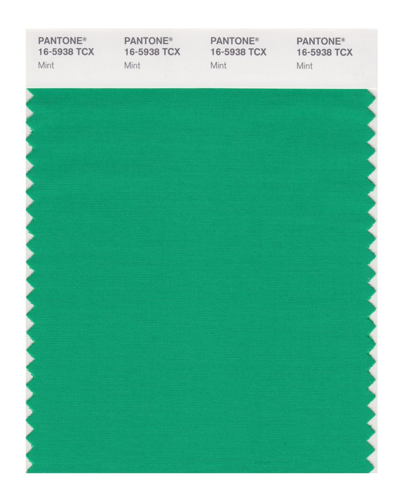 PANTONE 16-5938 TCX Mint. Tasty mint refreshes and restores