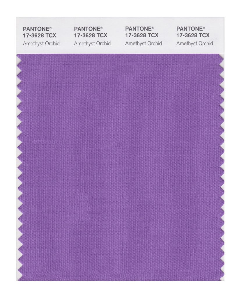 PANTONE 17-3628 TCX Amethyst Orchid. The floral shaded amethyst orchid introduces a unique touch