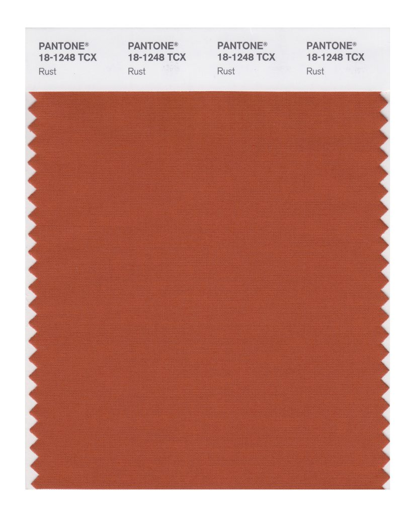 PANTONE 18-1248 TCX Rust. An earth inspired brown emblematic of Autumn leaves uncharacteristic of a spring palette.