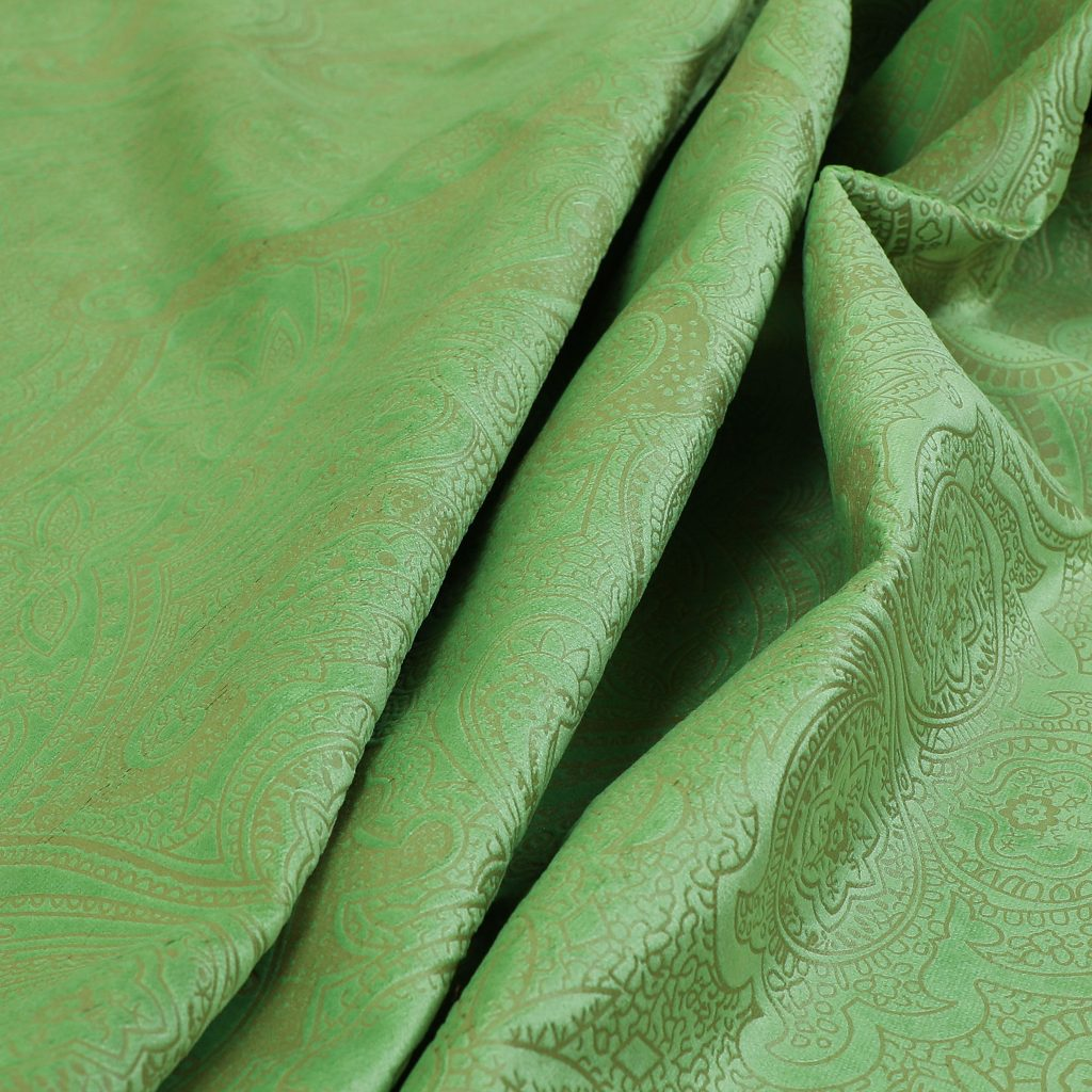 Phoenix Laser Cut Pattern Soft Velveteen Apple Green Velvet Material Upholstery Curtains Fabric