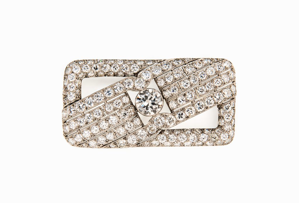 Tiina Smith Jewelry x Michelle Finamore Exhibition - Art Deco Diamond & Platinum Brooch.