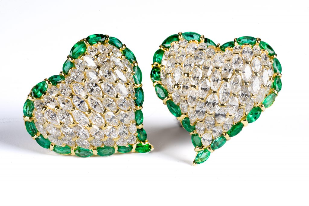 Tiina Smith Jewelry x Michelle Finamore Exhibition - Moussaieff One of a Kind Diamond & Emerald Heart Earrings.