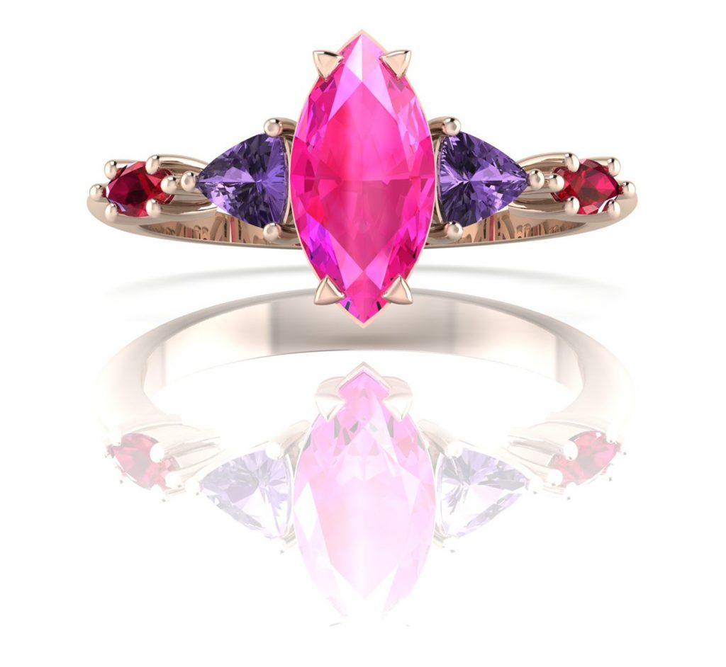 Maisie Marquise - Shades of Pink. Elegant, modern and sophisticated with a splash of colourful fun this 5 stone engagement ring is truly exquisite. Comprising of a marquise cut central pink sapphire, violet trillion sapphires and marquise shaped rubies set side by side to create a magical engagement ring.