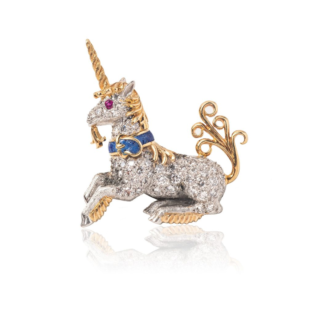 Tiina Smith Jewelry x Michelle Finamore Exhibition - Schlumberger for Tiffany & Co. Diamond, Lapis & Ruby Unicorn Lapel Pin.