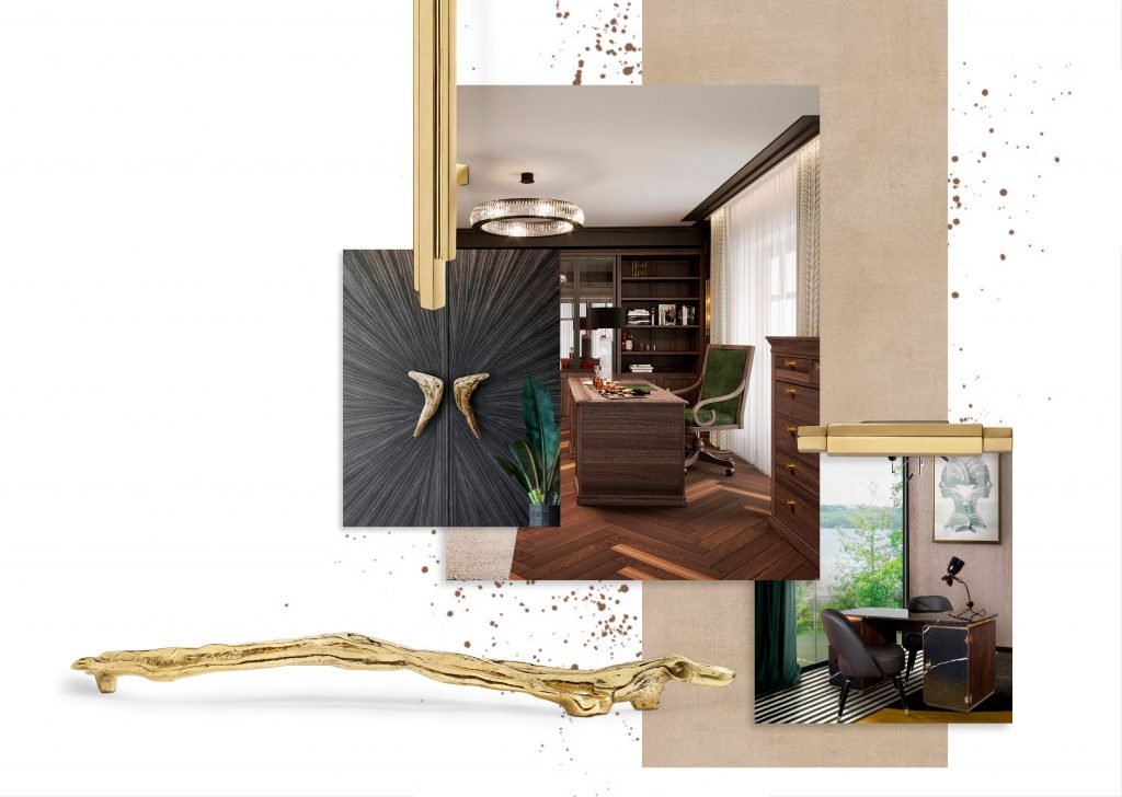 Home Office Moodboard with Deluxe Hardware - The concept of a home office in our current times has suffered a few enhancements. Functionality and comfort will always be the leading forces of such spaces, favoring simplicity above all. Nevertheless, textured and detailed aesthetics have gained more popularity, as many homeowners and designers alike often attempt to refute the ordinary and opt instead for more exciting solutions. It is here that elements such as jewelry hardware can come into play, and the following home office decor ideas showcase how these adornments can make a statement decor-wise.