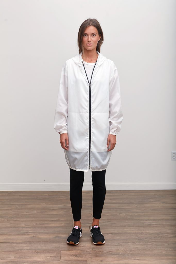 The Protective Jacket by Grey State Apparel features an innovative anti-microbial HeiQ V-block finishing, utilizing patented and registered Silver Technology for antimicrobial and antibacterial protection. Lightweight and durable, this jacket keeps clothes covered and germs out with elasticated cuffs, hem, and hood.
