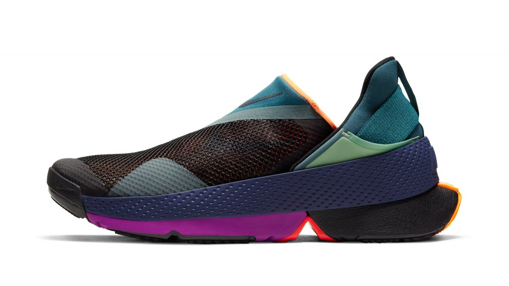The Nike GO FlyEse has a patent-pending bi-stable hinge and midsole tensioner that allow for hands-free entry.