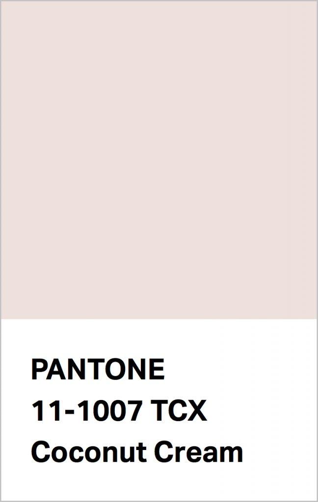 Pantone® Fashion Color Trend Report Autumn/Winter 2021/2022 Colors. PANTONE 11-1007 Coconut Cream.