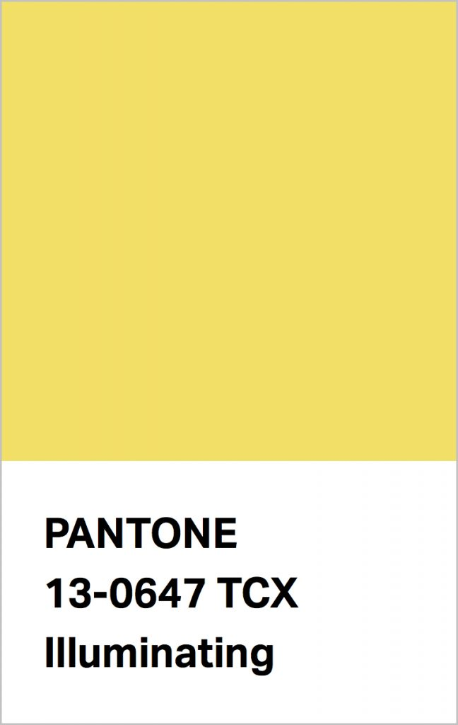 Pantone® Fashion Color Trend Report Autumn/Winter 2021/2022 Colors. PANTONE 13-0647 Illuminating.