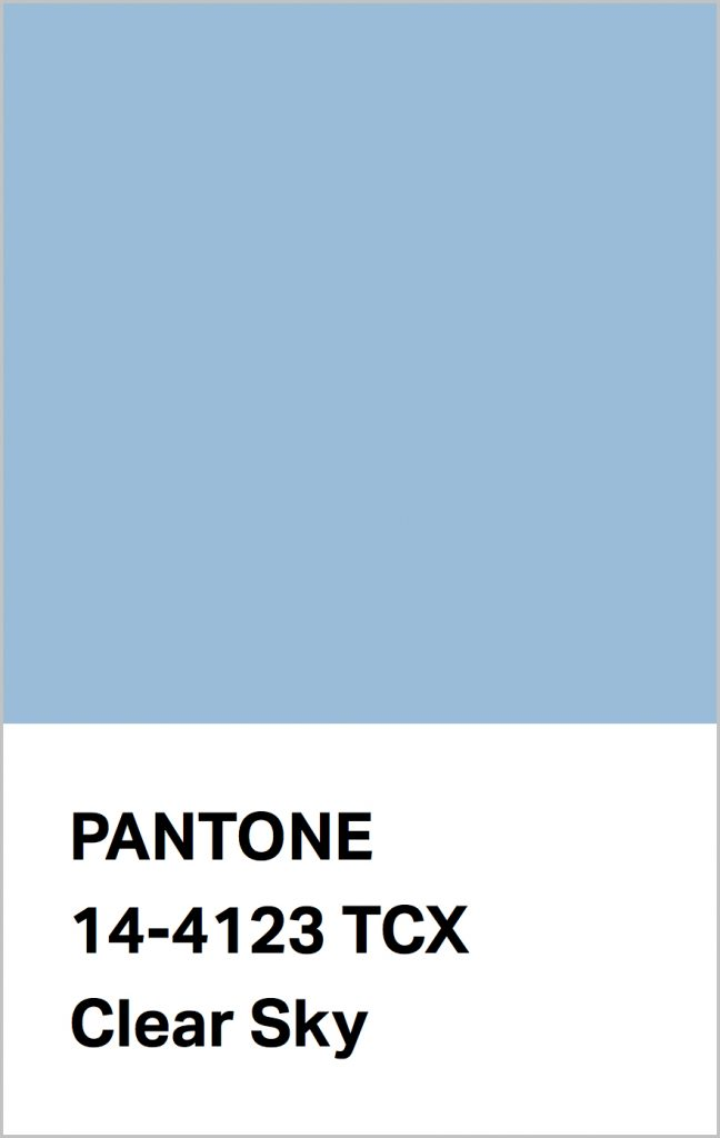 PANTONE 14-4123 Clear Sky: Redolent of the cool blue of a cloudless day.