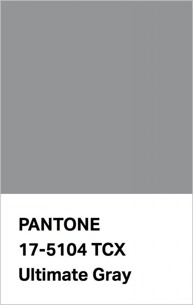 Pantone® Fashion Color Trend Report Autumn/Winter 2021/2022 Colors. PANTONE 17-5104 Ultimate Gray.