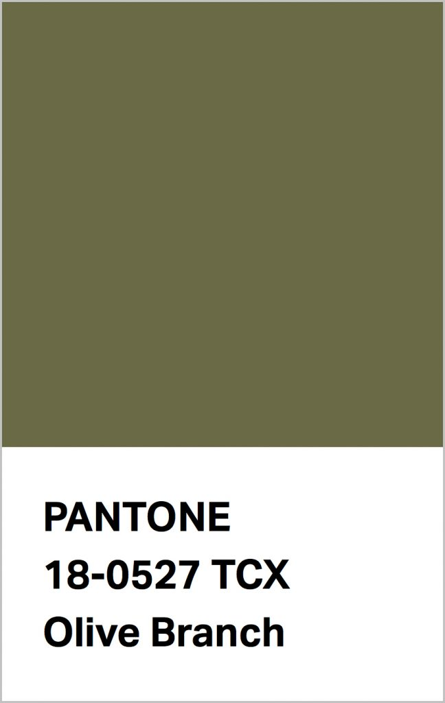 PANTONE 18-0527 Olive Branch: Tasteful green Olive Brown is symbolic of growth.
