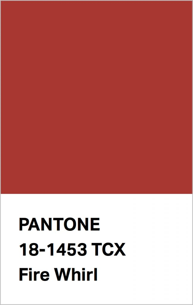 Pantone® Fashion Color Trend Report Autumn/Winter 2021/2022 Colors. PANTONE 18-1453 Fire Whirl.