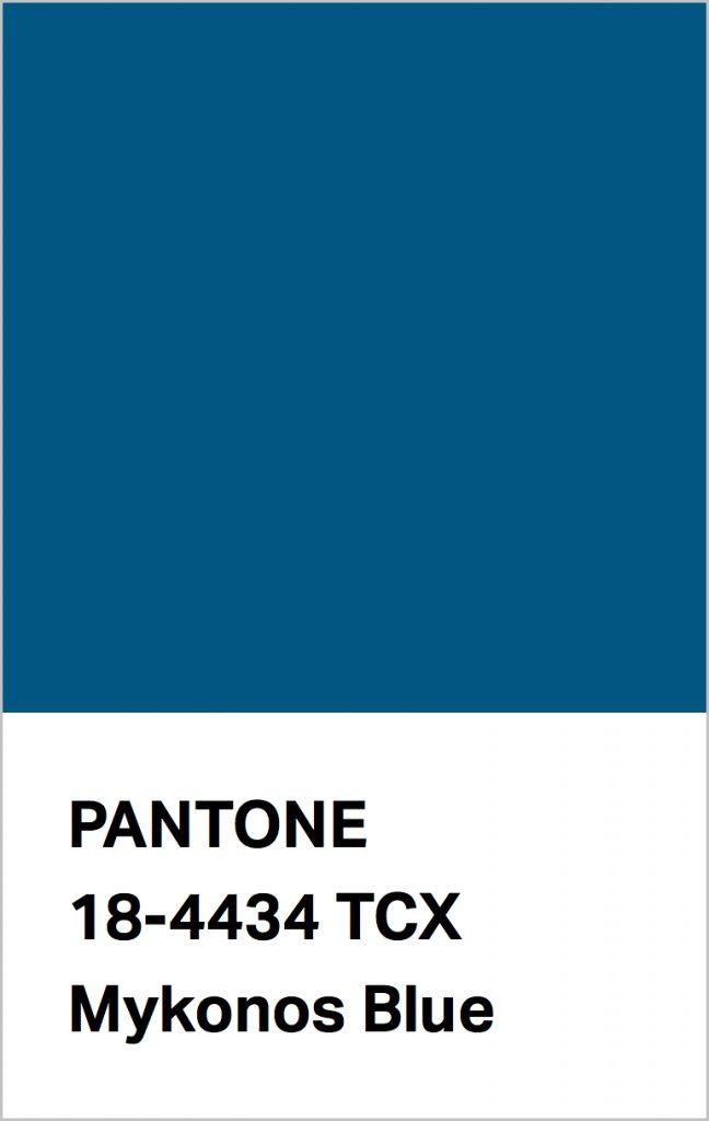 Pantone® Fashion Color Trend Report Autumn/Winter 2021/2022 Colors. PANTONE 18-4434 Mykonos Blue.