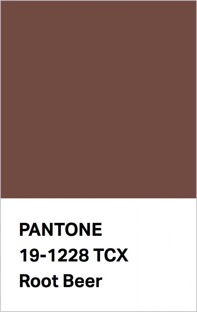 Pantone® Fashion Color Trend Report Autumn/Winter 2021/2022 Colors. PANTONE 19-1228 Root Beer.