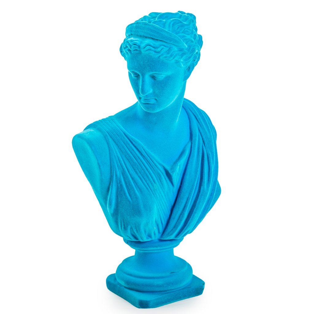 Blue Flocked Artemis Bust