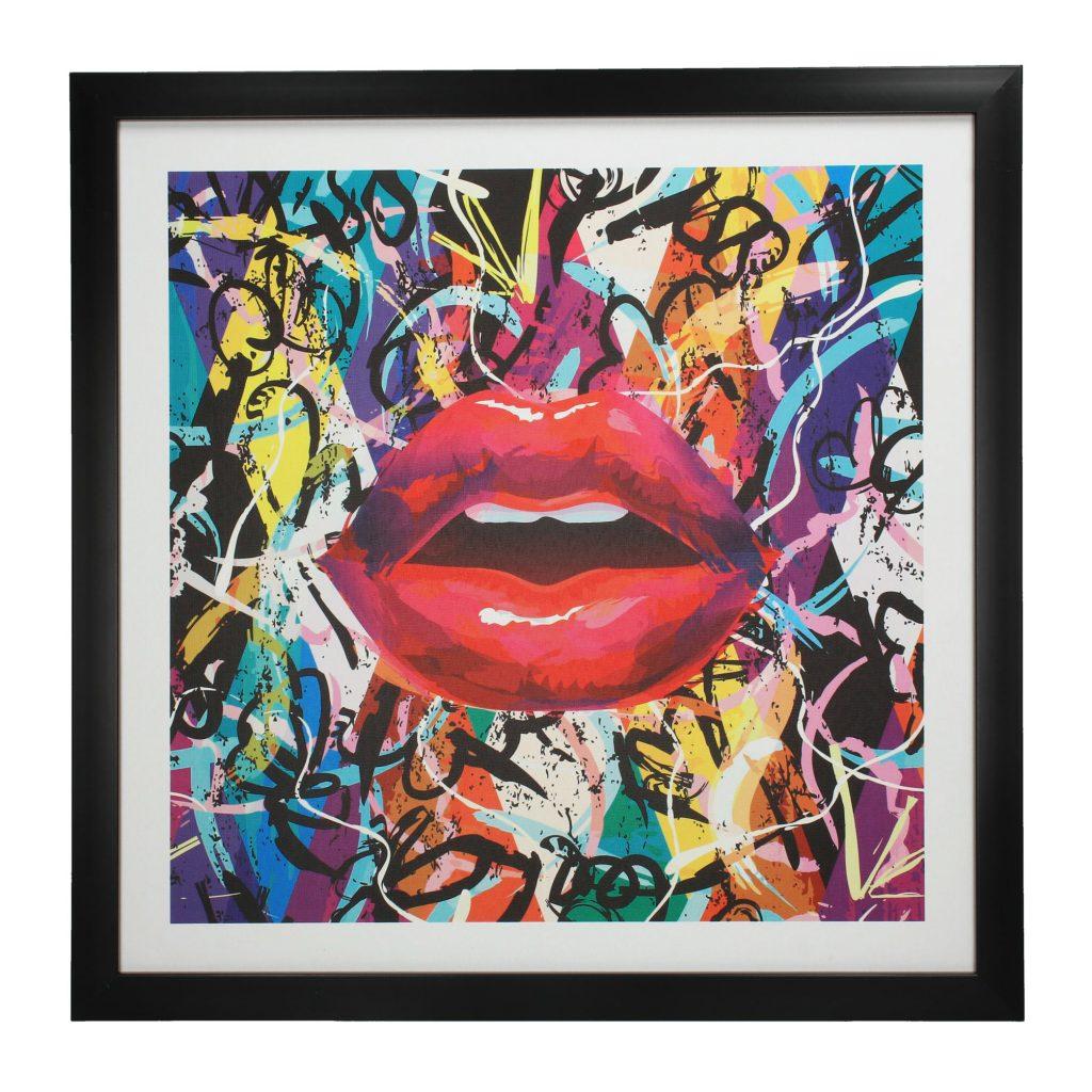 Colorful Graffiti Lips Wall Art Black
