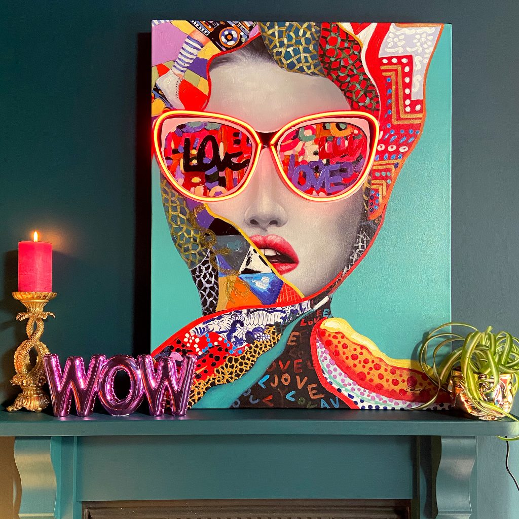Gianna LED Neon Canvas Art, Ornate Leaping Fish Candle Holder, WOW Balloon Ornament & Wall Décor and all-seeing Gold Faces Plant Pot.
