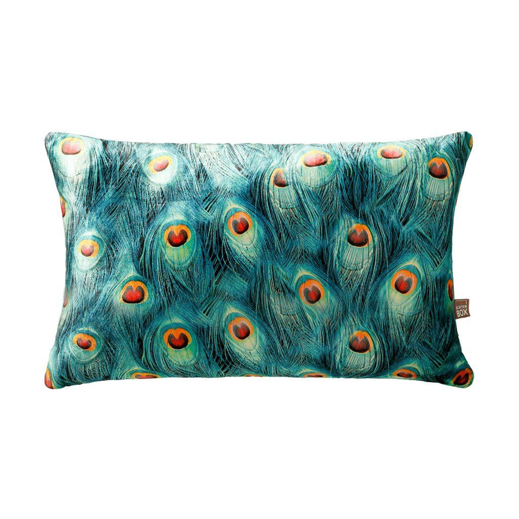Handmade Teal Velvet Peacock Cushion