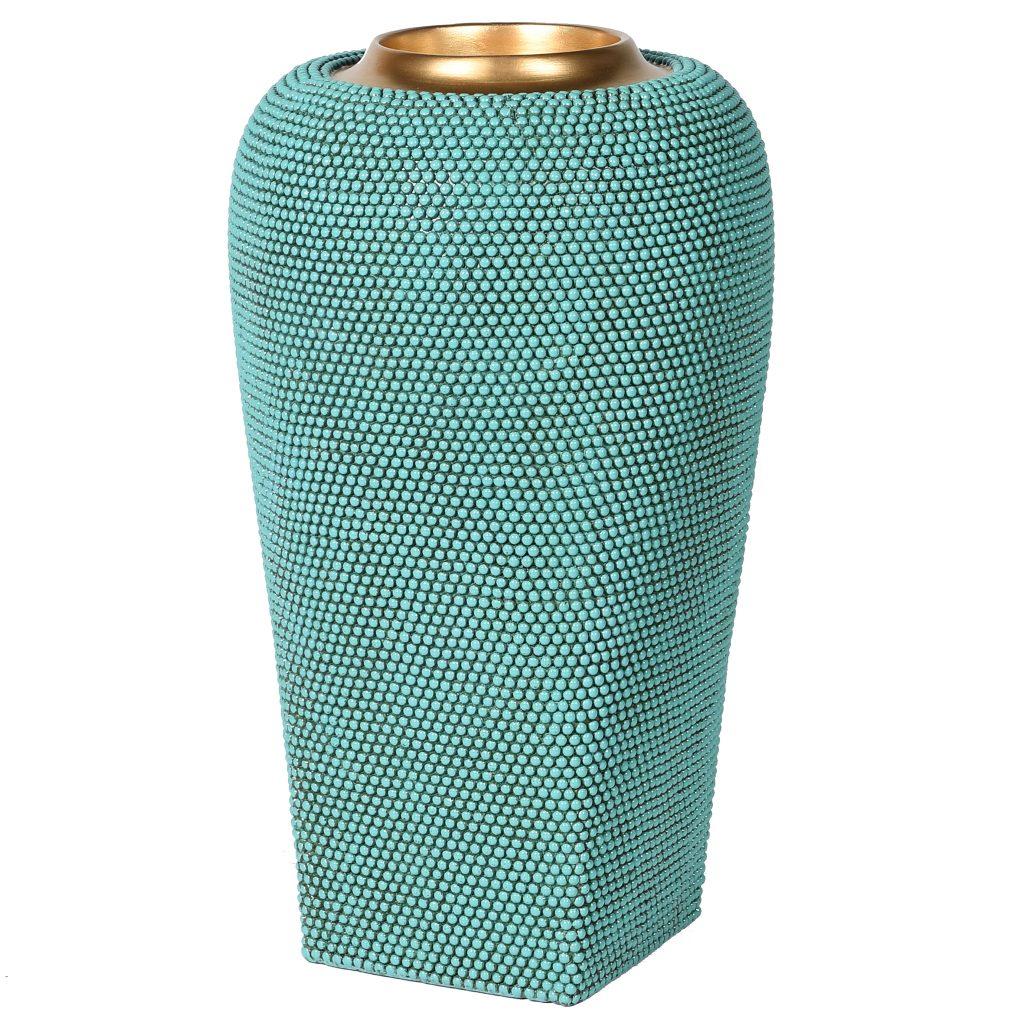 Handmade Turquoise Beaded Large Vase
