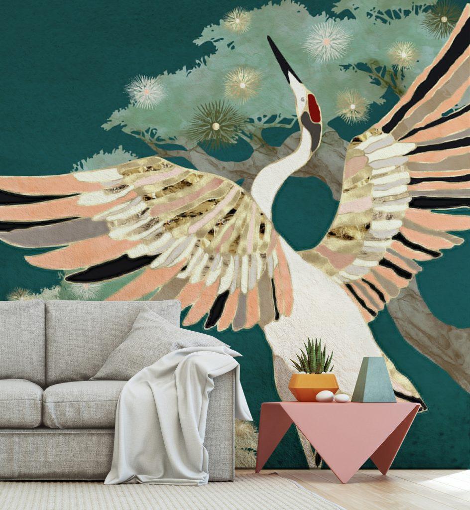 Dancing Crane Mural by SpaceFrog Designs at Wallsauce.com