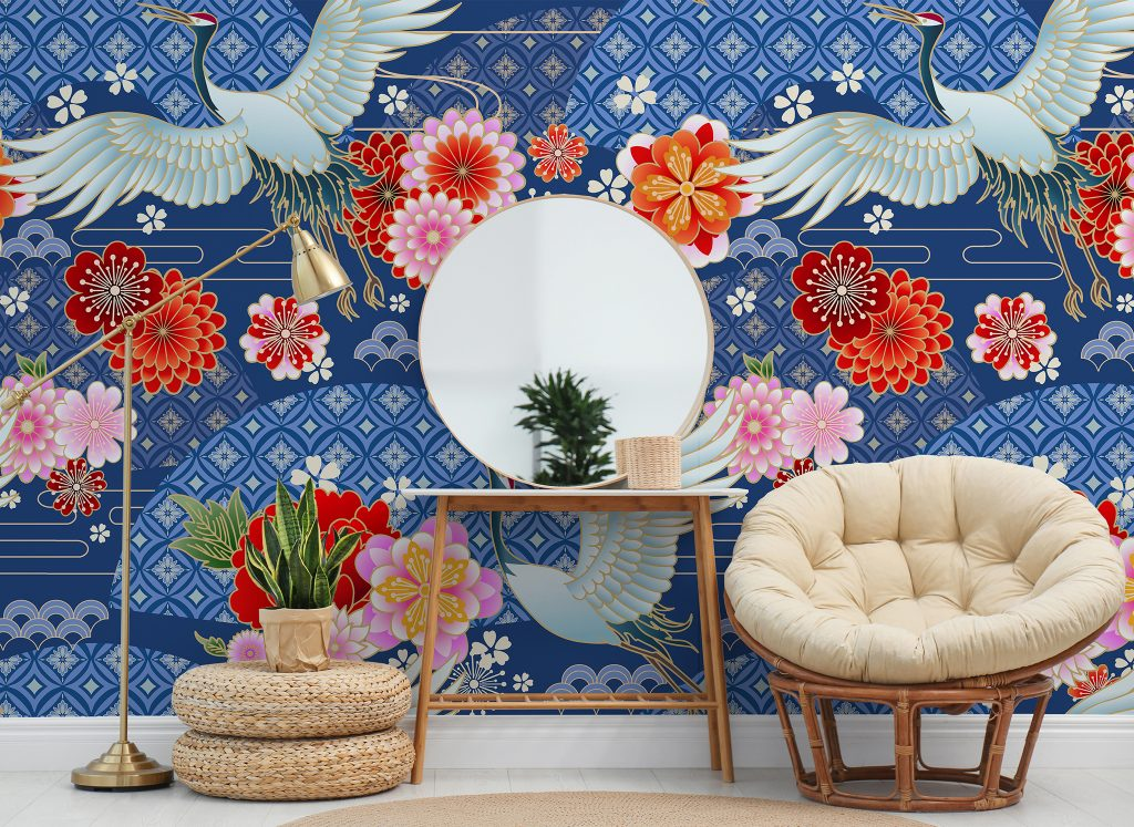 Hypnotic Cranes and Flowers Mural available at Wallsauce.com