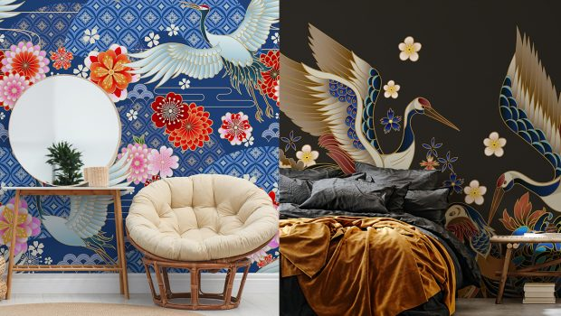 Ahead of this year's interior trend of bold, oversized design, creators of made-to-measure wallpaper murals, Wallsauce has assembled a collection of maximalist crane murals.