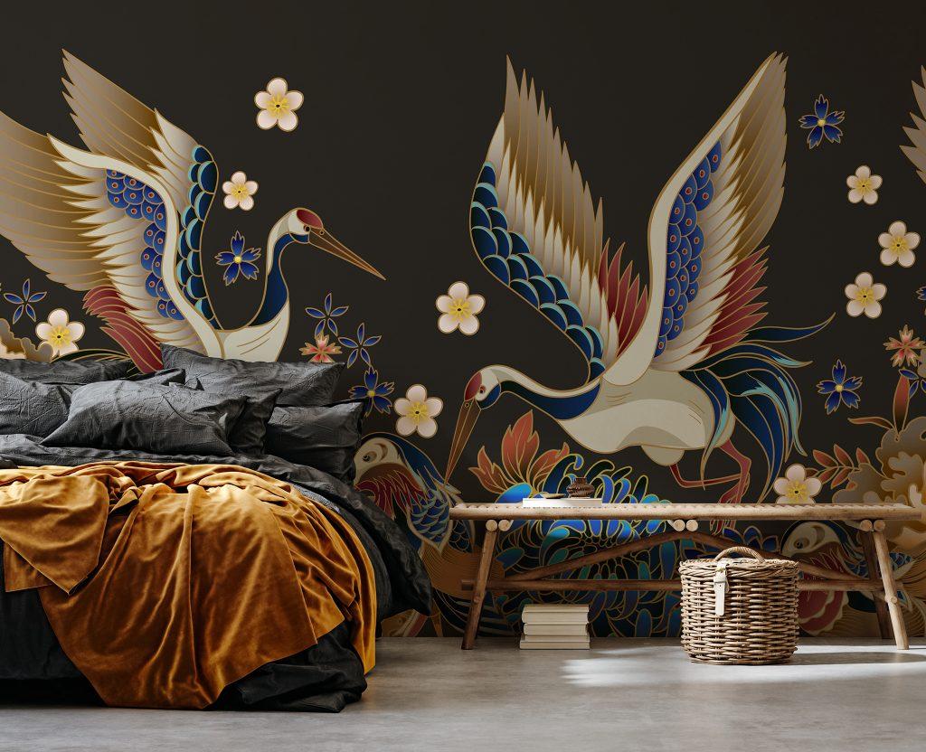 Mandarin Ducks and Cranes Mural available at Wallsauce.com