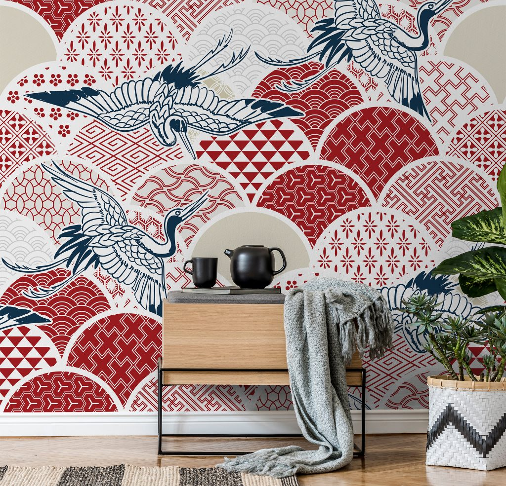 Oriental Red and White Pattern Mural available at Wallsauce.com