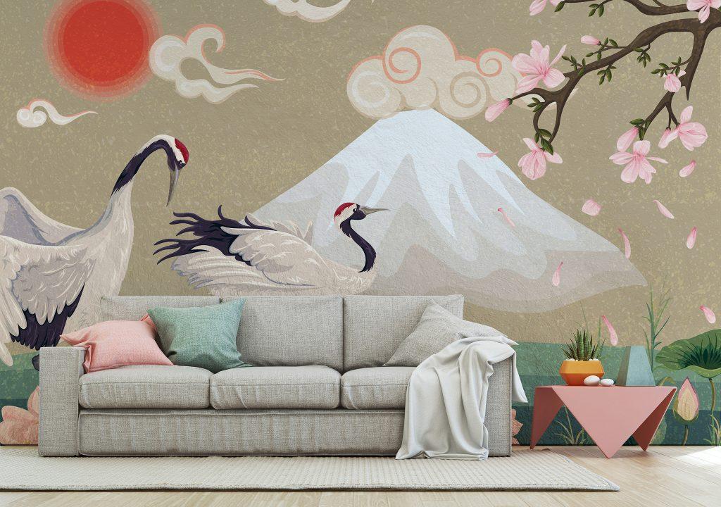 The Cranes Of Mount Fuji Mural available at Wallsauce.com