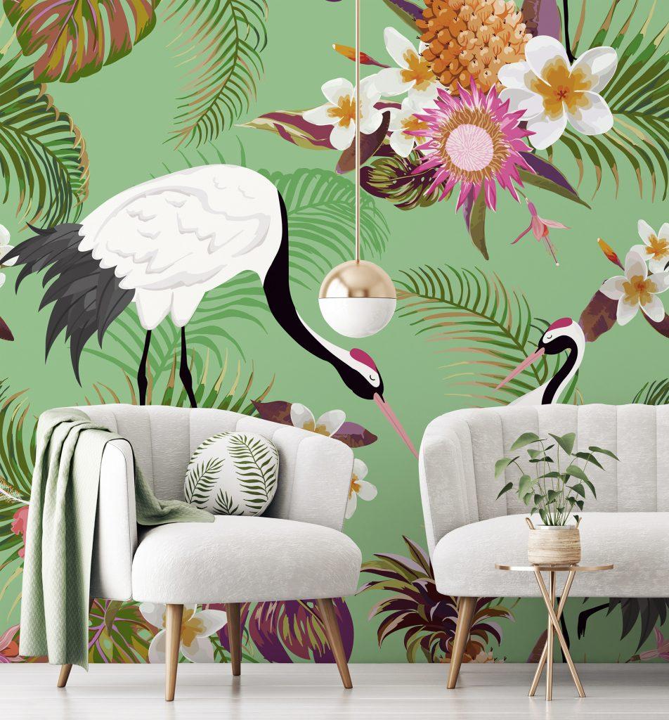 Tropical Green Cranes Mural available at Wallsauce.com