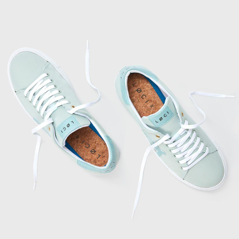 LØCI's most sustainable sneaker made to date. Made with 100% recycled materials that give you a superior water-resistant upper, with a custom-made cork insole for a soft re-bounce to keep you charging ahead. Nikki Reed Cute Vegan Sneaker's sole is made with lightweight recycled rubber for extra durability in creating a no-slip rubber grip.