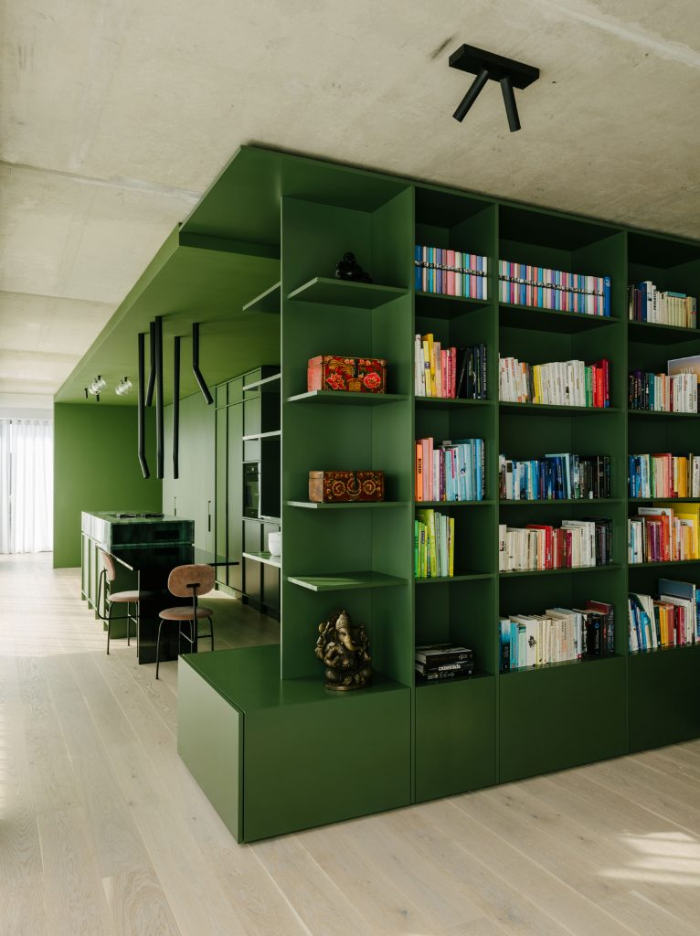 The green box; view from the edge of the Living Area bookshelf into the kitchen. The effect of the apartment is a study in contrasts: a mix of efficient planning with exuberant materials and colors and textures: - all between planes of cool concrete. Photo ©Robert Rieger, Courtesy of Ester Bruzkus Architekten.