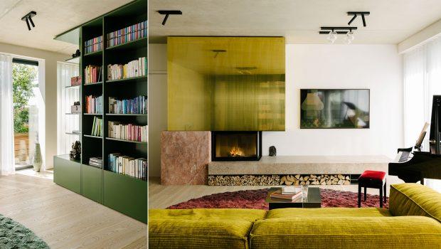 Ester Bruzkus Architekten transformed the top-floor apartment into a cozy 'deep green' home for a Berlin couple living a vegan lifestyle.