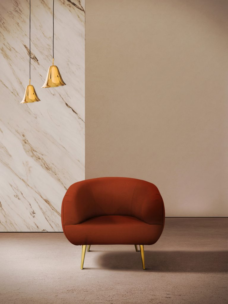Tayma Chair | KK By Koket Projects Description: Round out your living space with TAYMA! Mod + minimal with a curved seat and luxe metal legs this chair is a perfect accent piece in any room.