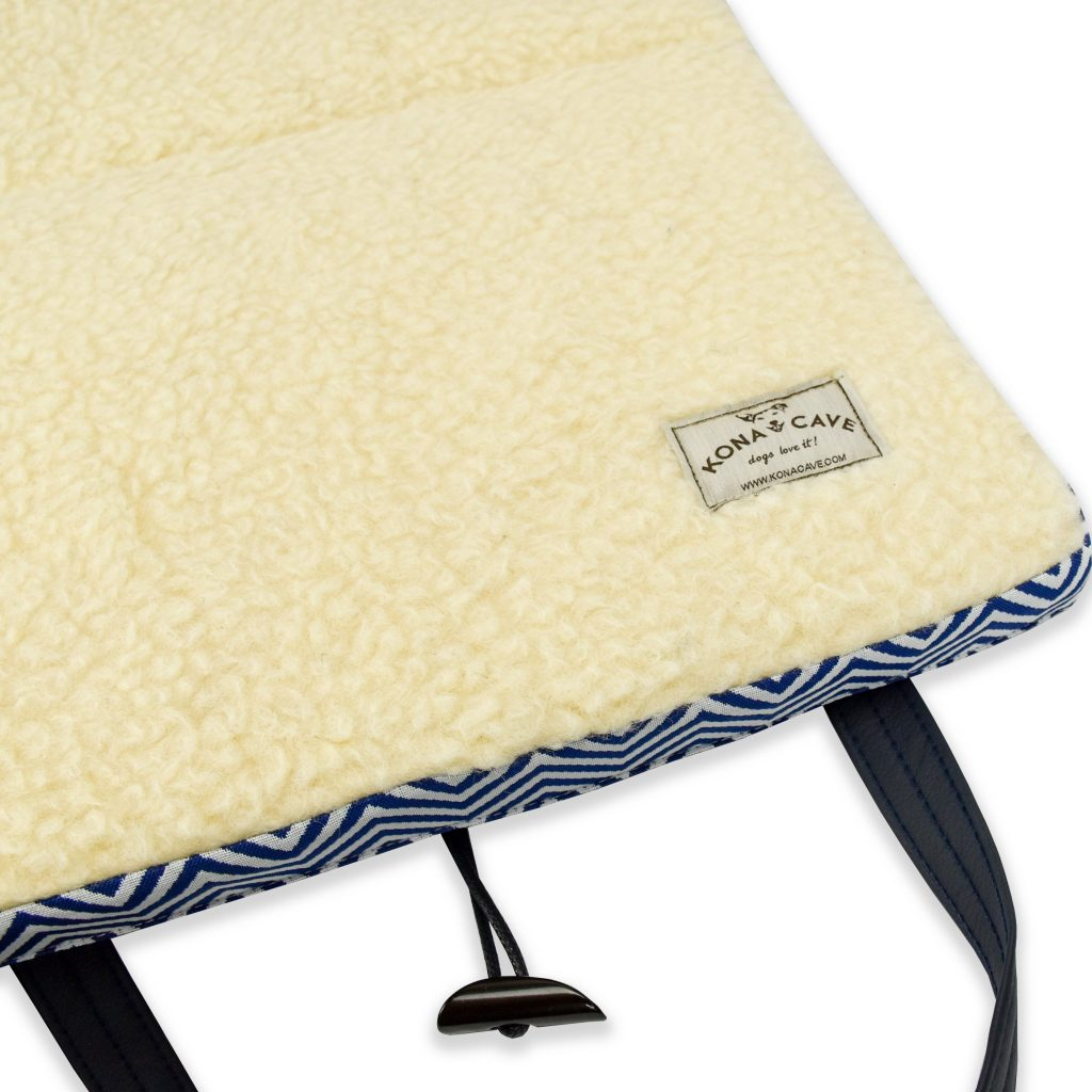 KONA CAVE® Nautical Travel Dog Bed - Blue Wave with Real Wool Lining.