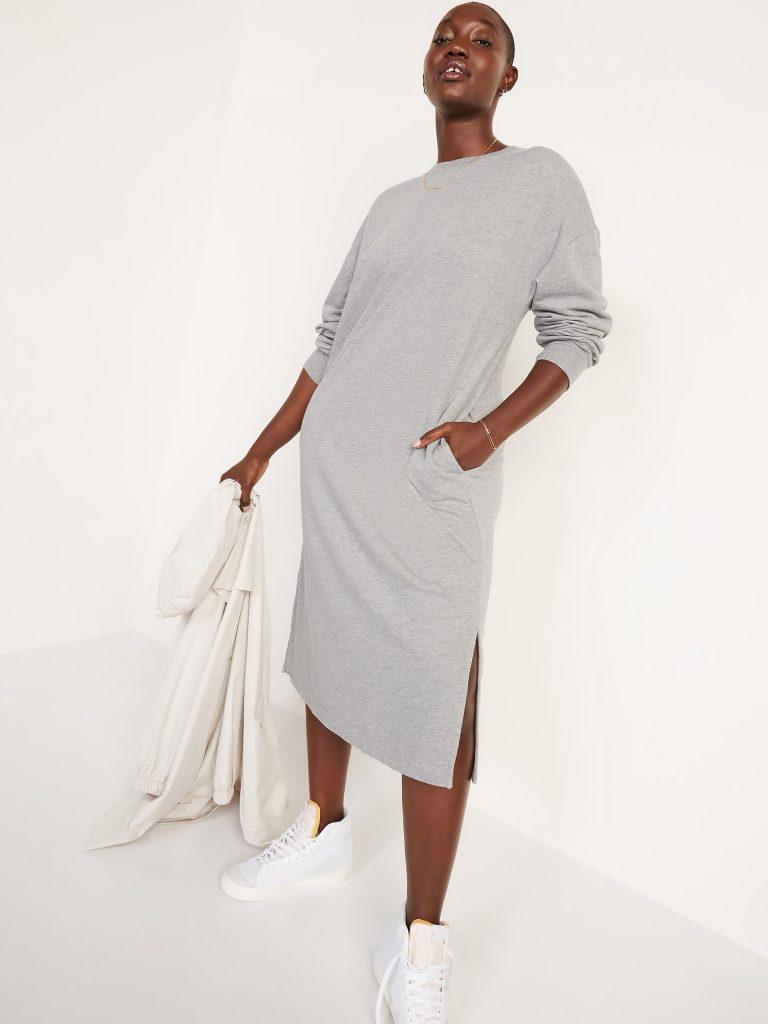French-Terry Sweatshirt Midi Shift Dress for Women.